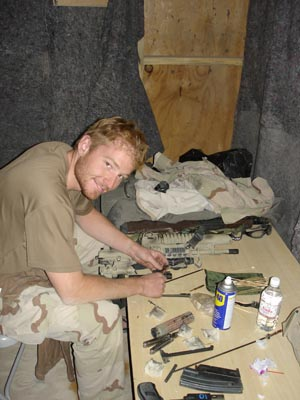 Faas relaxes during a break while serving in Afghanistan.